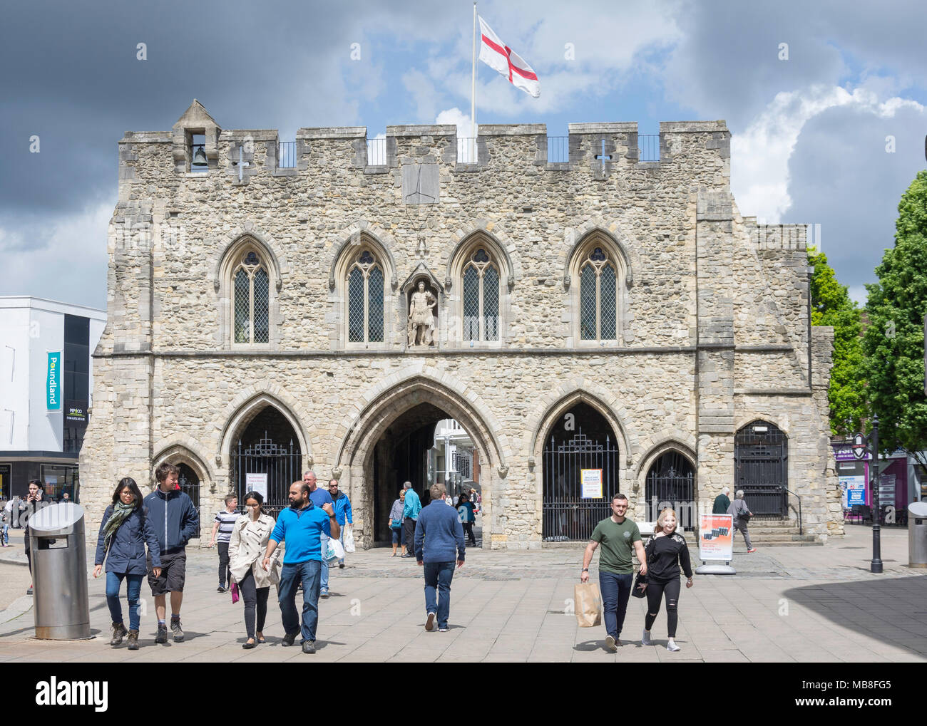 The 12th century Bargate and Guildhall, High Street, Old Town, Southampton, Hampshire, England, United Kingdom - Stock Image