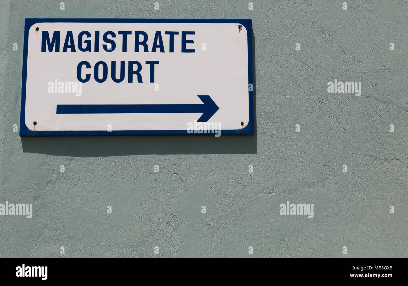 Magistrate Court sign. - Stock Image
