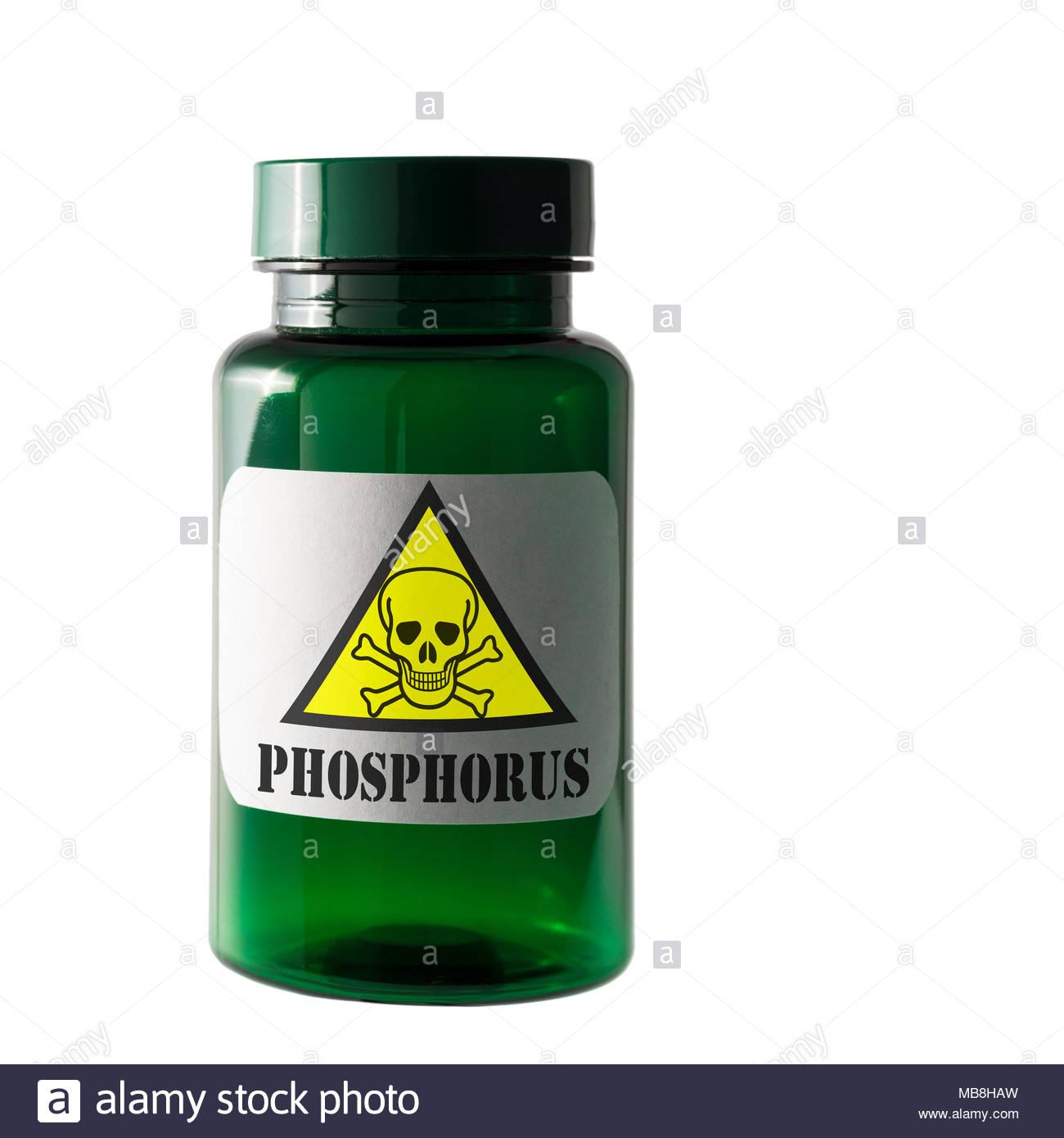 Phosphorus, Dangerous substance label, Dorset, England, UK - Stock Image