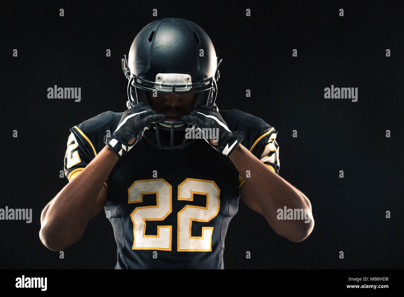 African American football player. - Stock Image