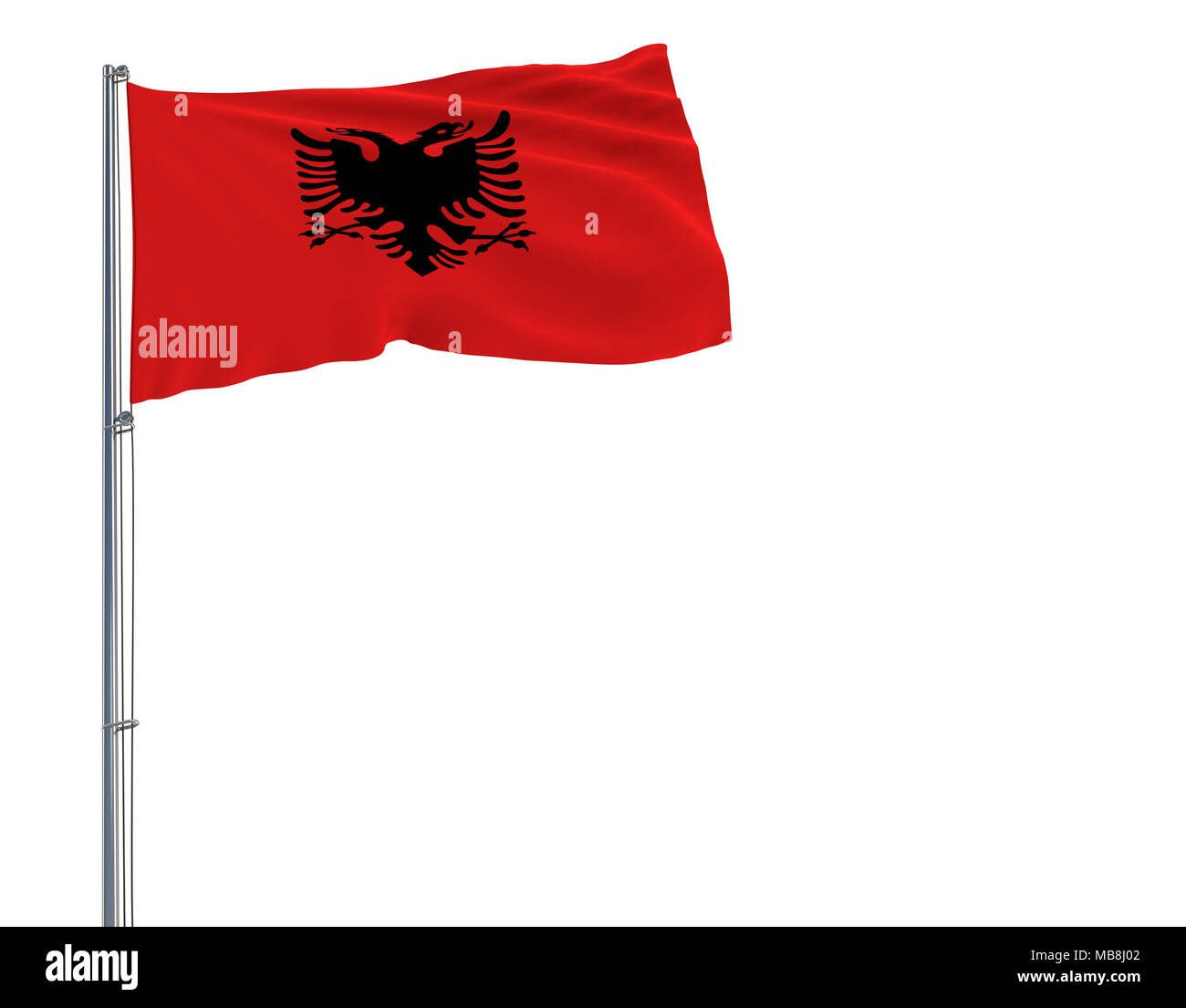 Isolate flag of Albania on a flagpole fluttering in the wind on a white background, 3d rendering - Stock Image