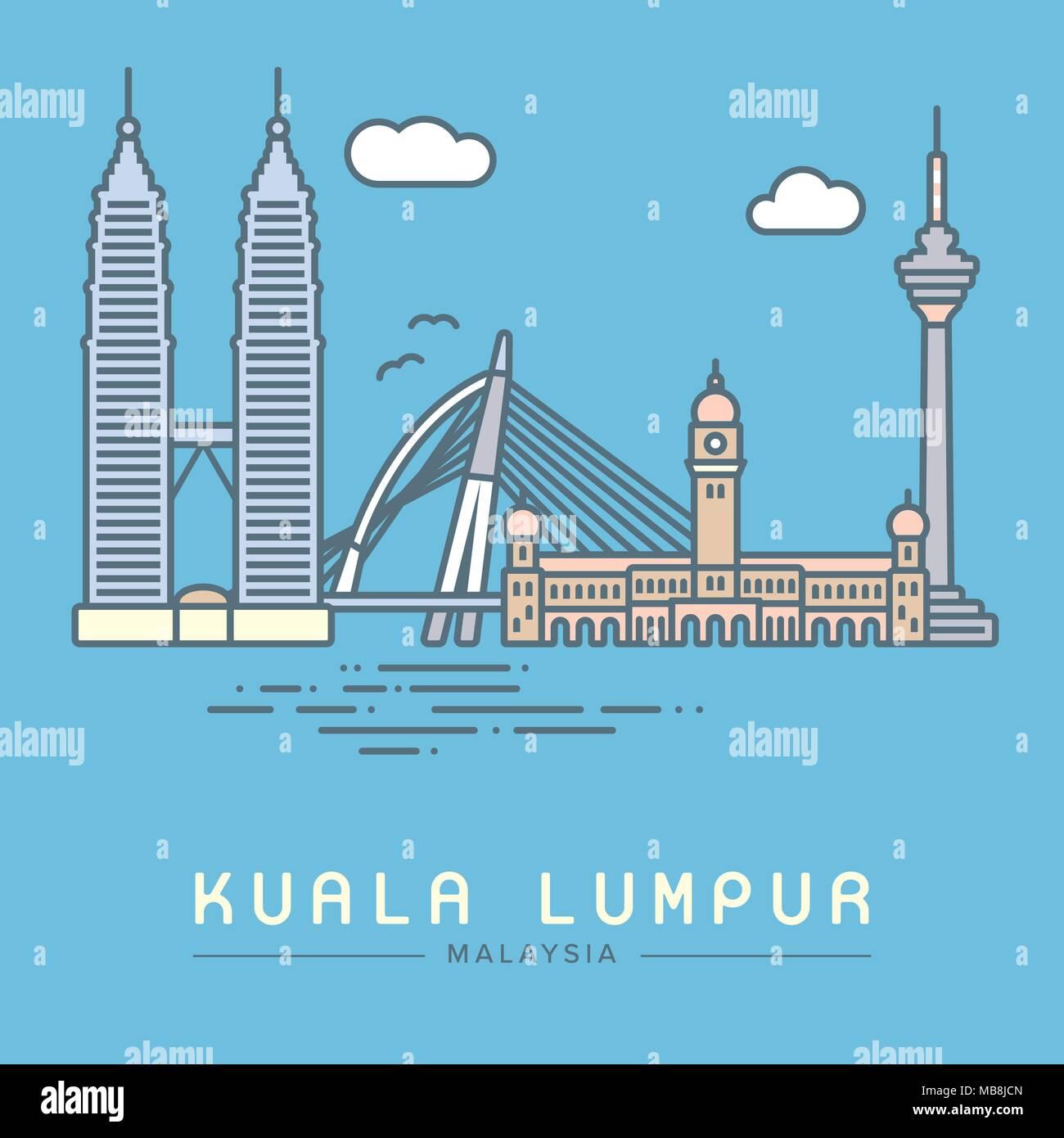 Line Icon style Kuala Lumpur city flat vector illustration - Stock Vector