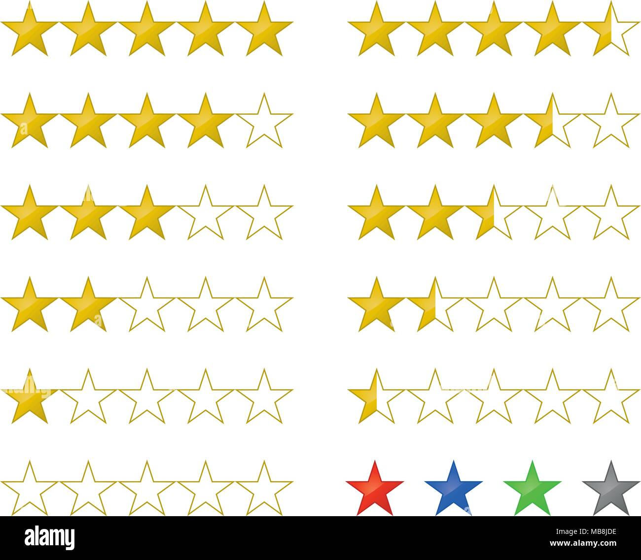 Glossy golden rating and review stars icons from 5 to zero in half star increments. Global colors. - Stock Vector