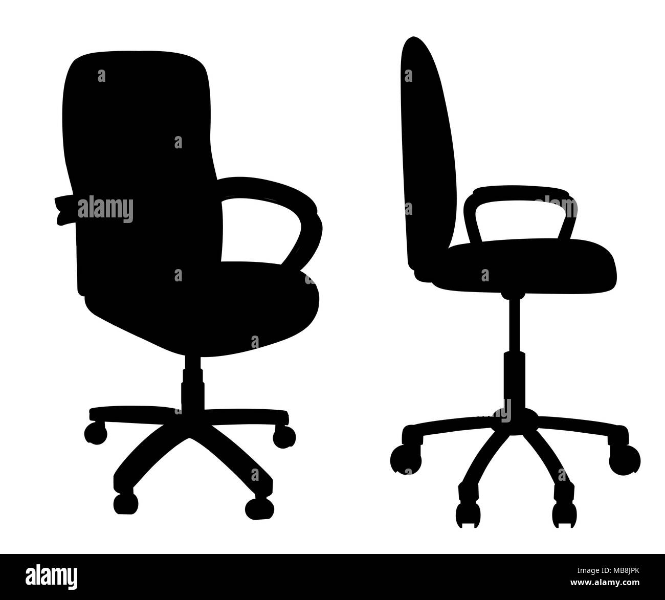 Red Office Chair Isolated On White Background. Empty Seat For Employee. Ergonomic  Armchair For Executive Director. Furniture Icon. Vector Illustration