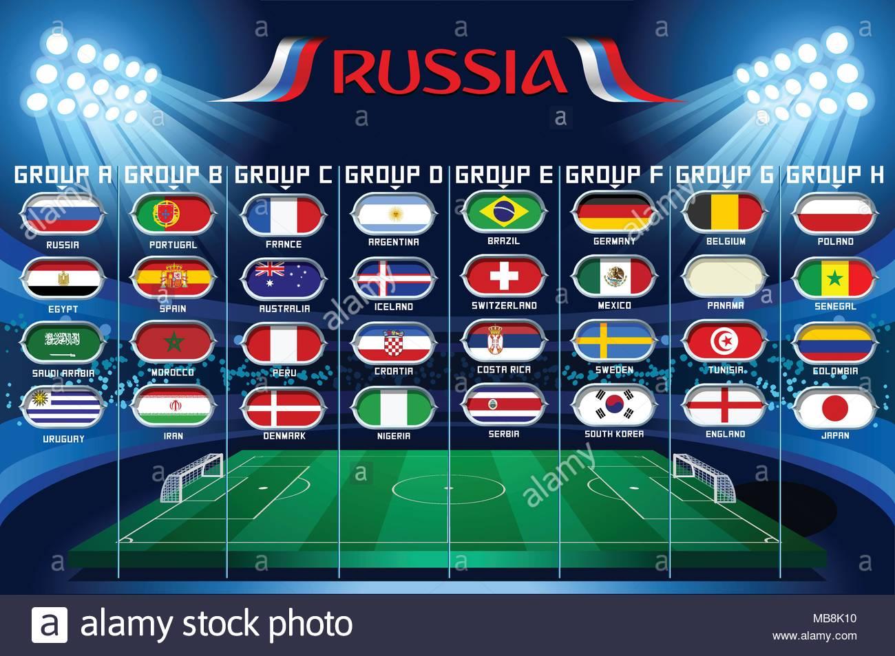 Football set of world championship groups. Russia football ...