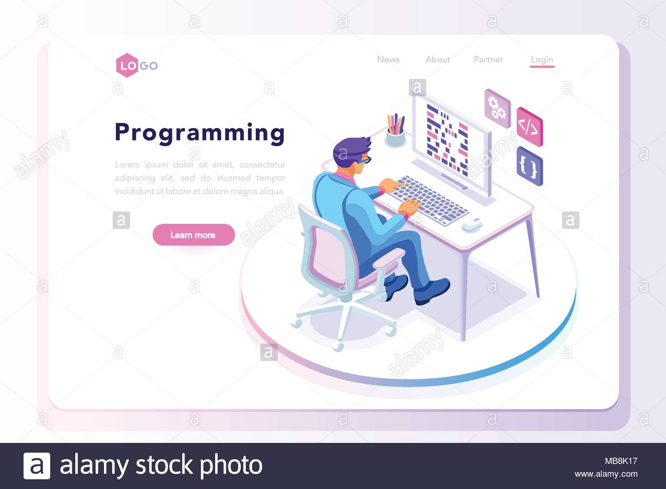 programming concept web engineer at work vector image programmer