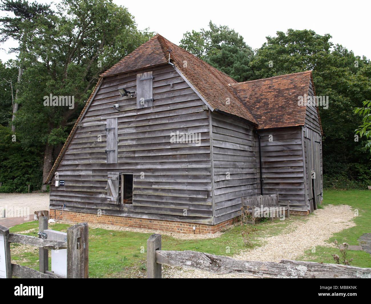 Chineham Barn, used as a grainstore at Bursledon Windmill, Bursledon, Southampton, Hampshire - Stock Image