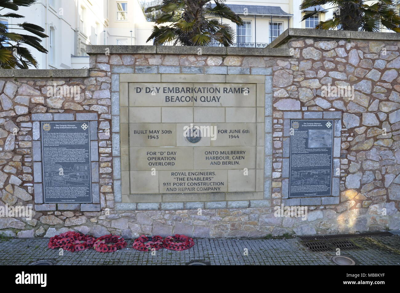 A memorial plaque at Beacon Quay in Torquay marking the embarkation of ships to the D-Day Operation Overlord  initiative in World War 2 - Stock Image