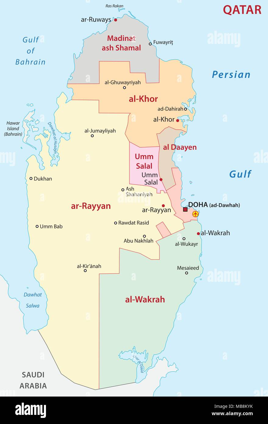 qatar administrative and political vector map Stock Vector Art