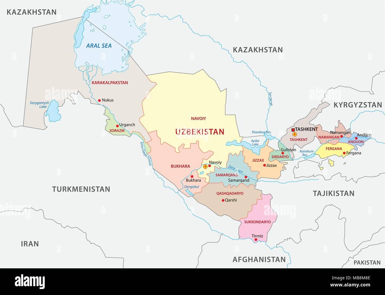 uzbekistan administrative vector map - Stock Image