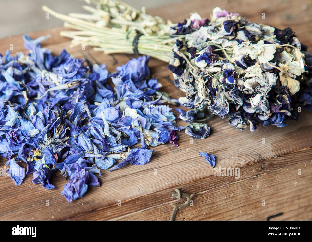Dried Flower Bouquet On Wooden Box Stock Photo Alamy