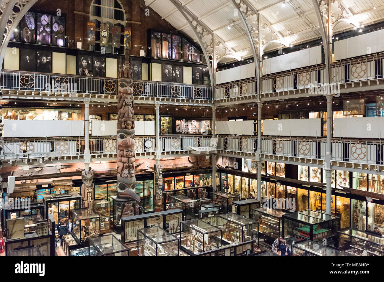 Oxford. England. Interior of the Pitt Rivers Museum, with archaeological and ethnographic objects from all over the world, founded in 1884. Centre is  - Stock Image