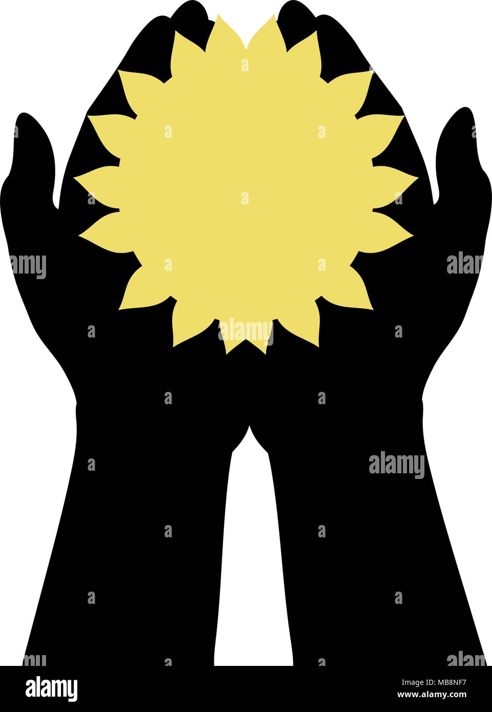 Hands holds sun. World summer sun day.  - Stock Vector
