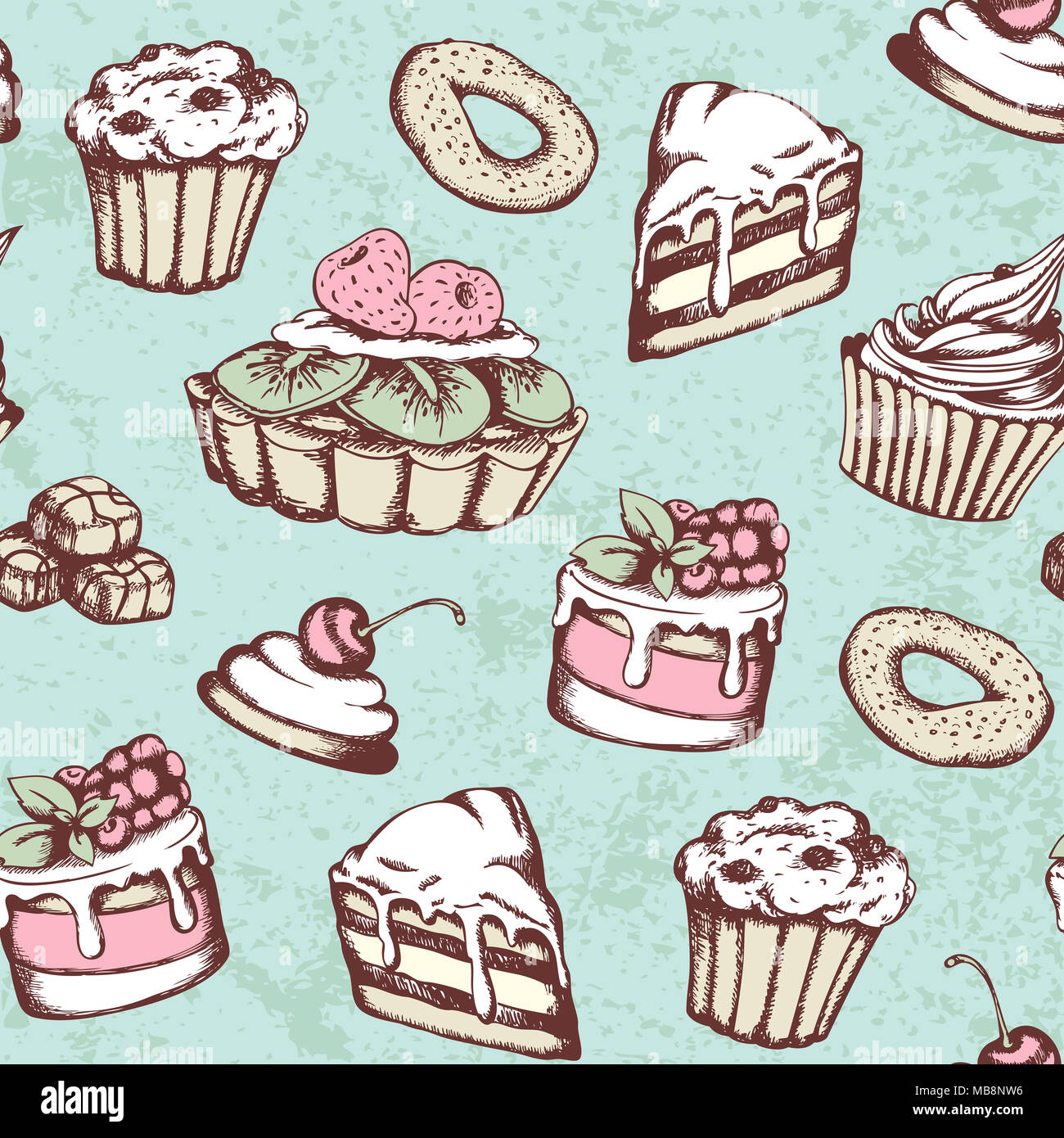 Hand Drawn Seamless Pattern With Candies And Cakes In Vintage Style Green Background Sweets
