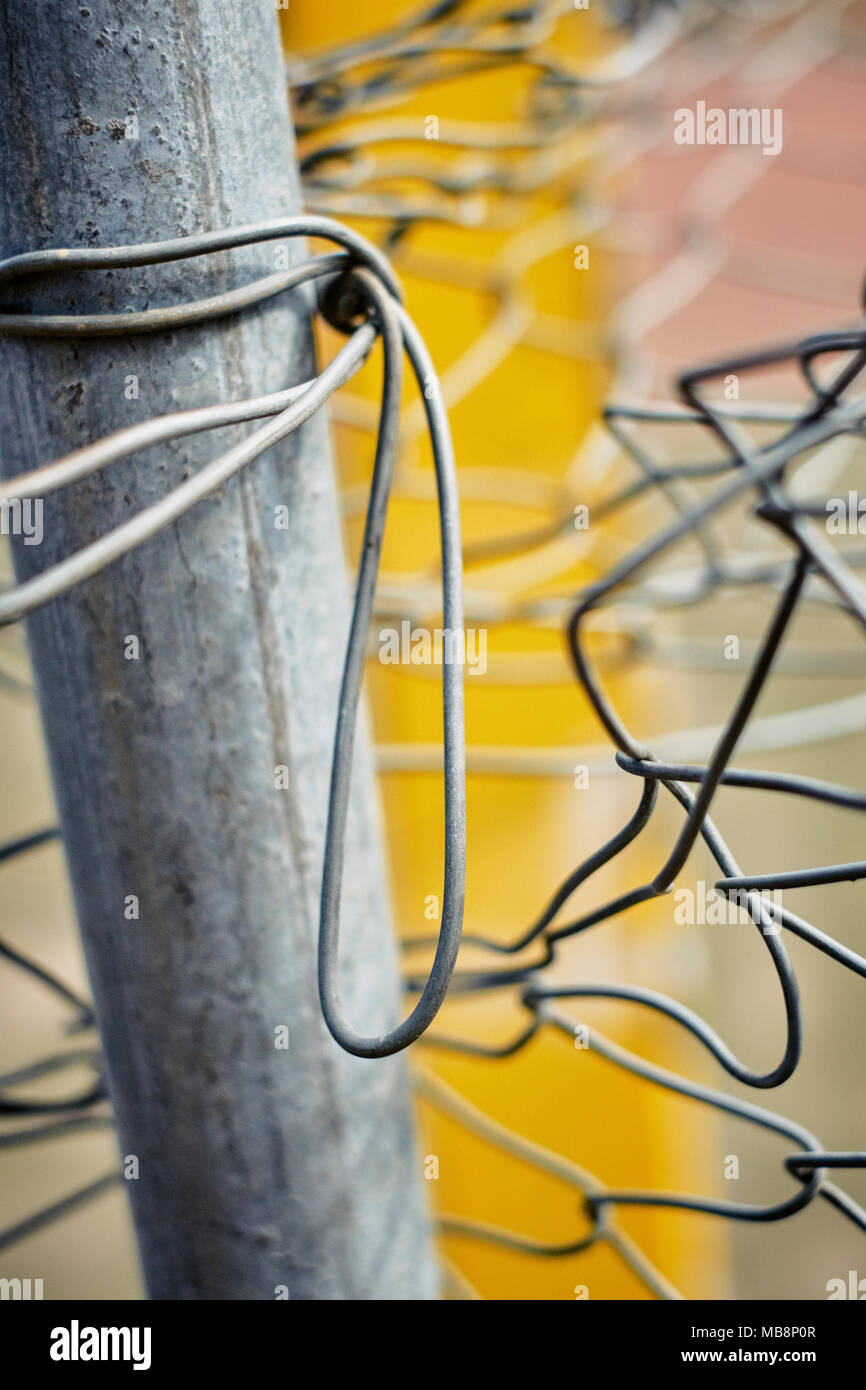 Metal wire fence abstract - Stock Image