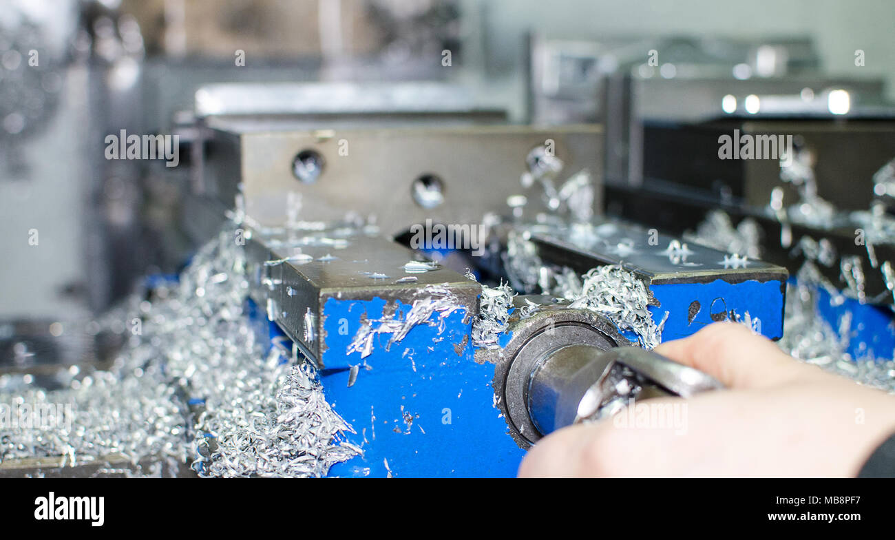 Metal saws for cnc machining and preparing a new product. - Stock Image