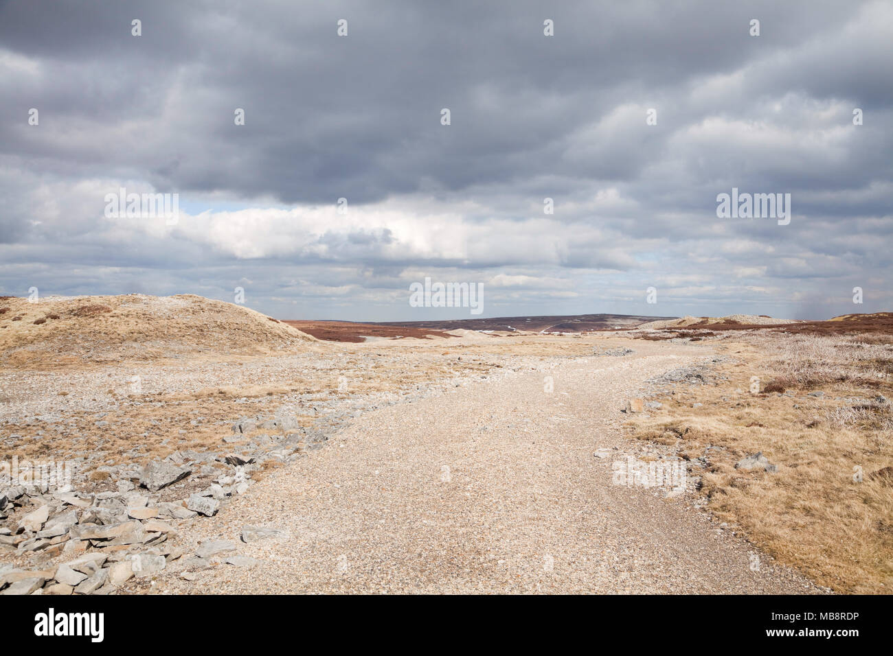 The ruined landscape of Melbecks Moor, above Swaledale in the Yorkshire Dales - Stock Image