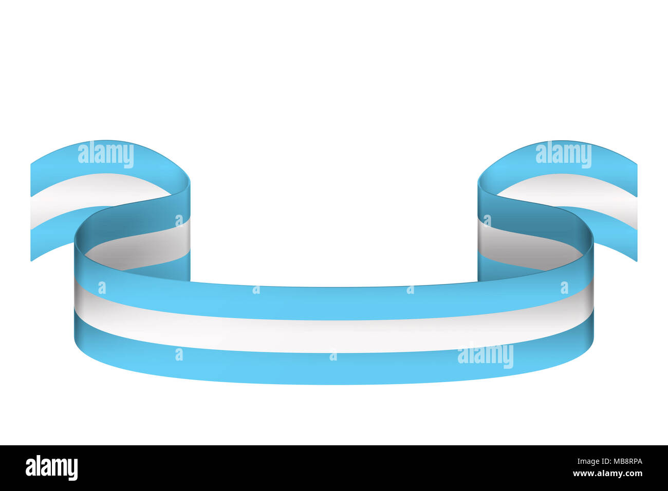 Volumetric ribbon in three colors of Argentina flag on white background with place for inscription - Stock Image