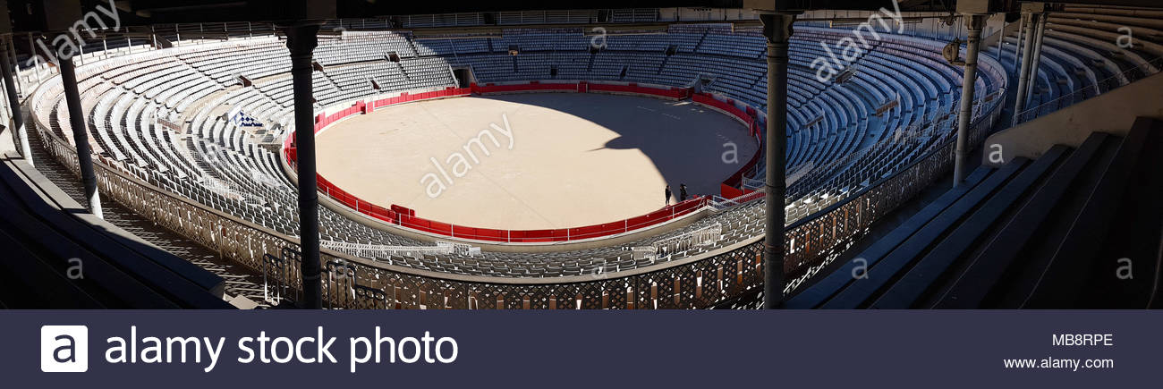 Barcelona, Spain -  31st March, 2018. Stands in the La Monumental. This was the last bullfighting arena in commercial operation in Catalonia following a bullfights banning law on 28 July 2010. General view of Barcelona, Spain. @ David Mbiyu/Alamy Live News - Stock Image