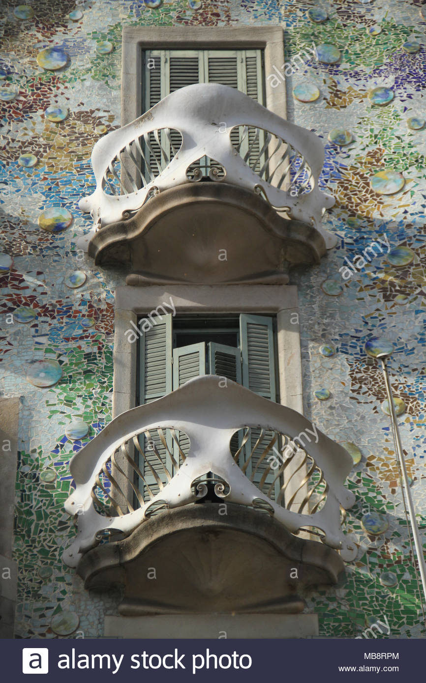 Barcelona, Spain -  28th March, 2018. The facade of the Casa Batlló by Antoni Gaudí,  was commissioned by Lluís Sala Sánchez and built in 1877. General view of Barcelona, Spain. @ David Mbiyu/Alamy Live News - Stock Image