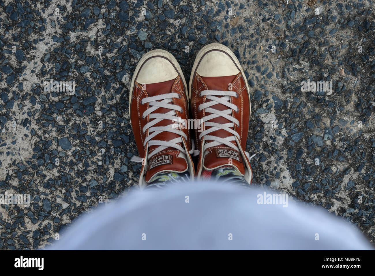 leather converse - Stock Image