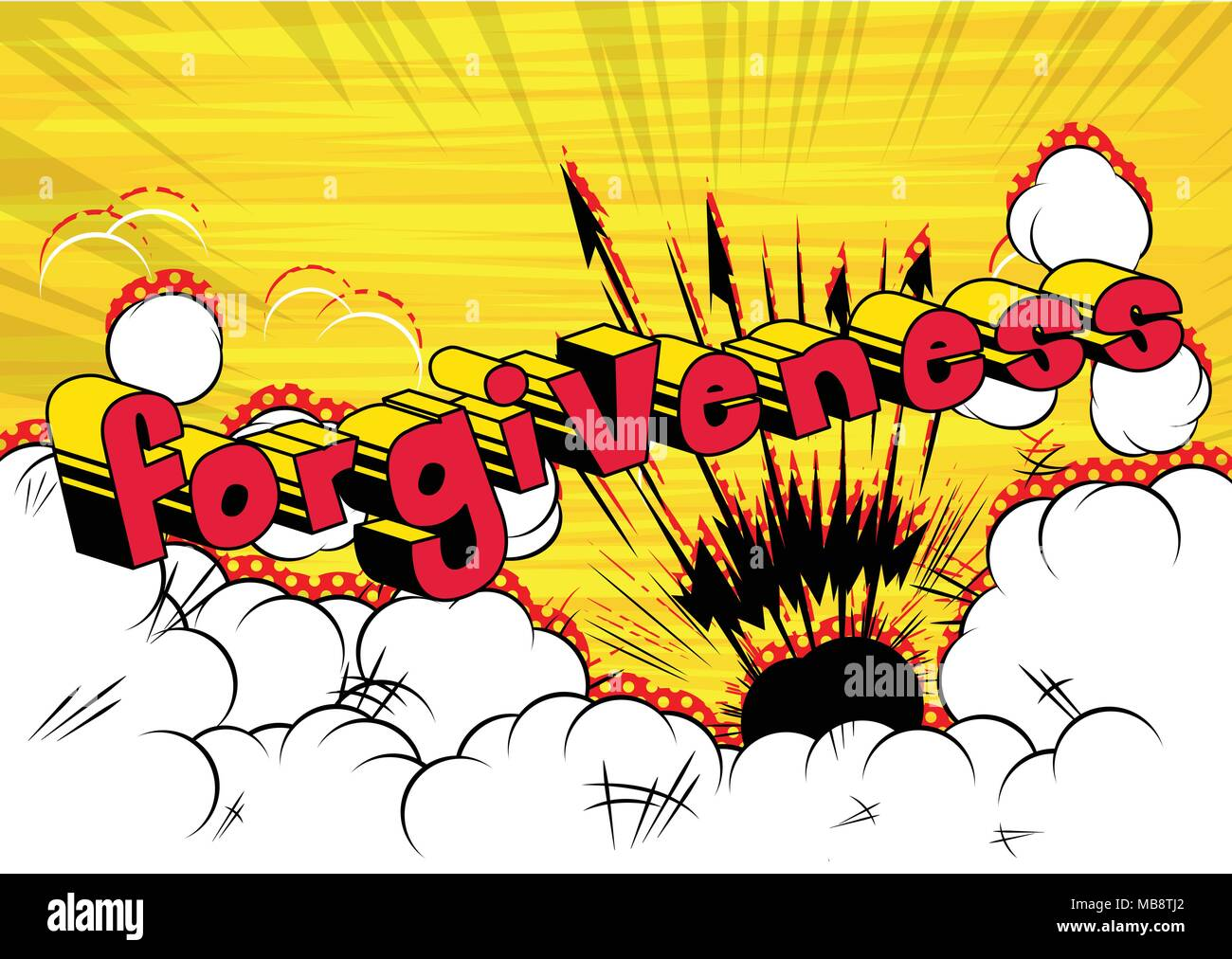 Forgiveness - Comic book style phrase on abstract background. - Stock Image