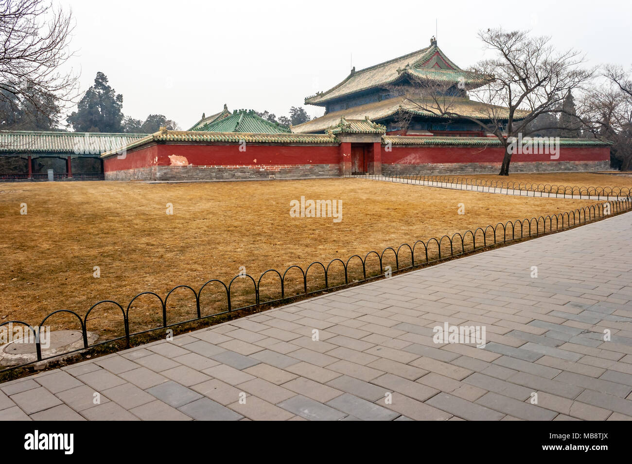 View of Typical Chineese Palace Building in Beijing Park Stock Photo