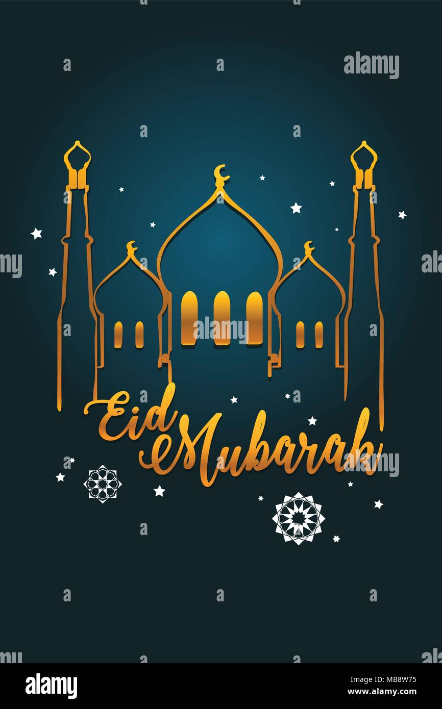 Eid Mubarak Greeting Card Stock Vector Images Alamy