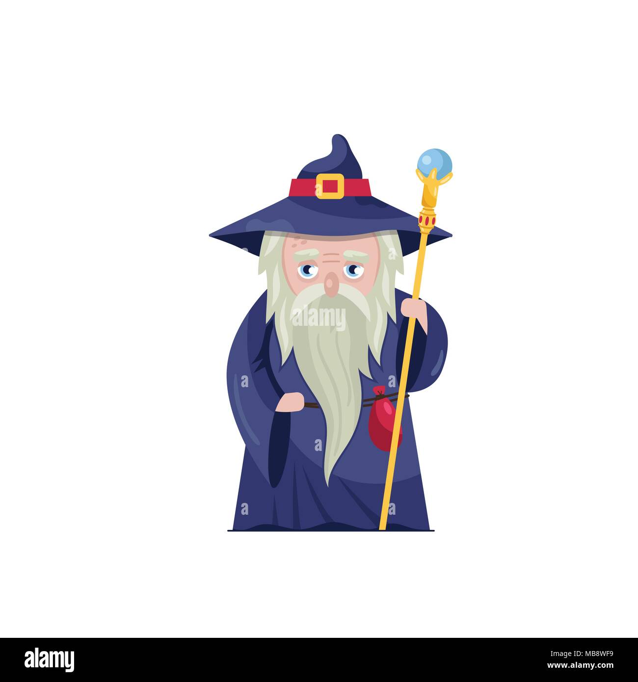 Old wizard with magical staff - Stock Vector