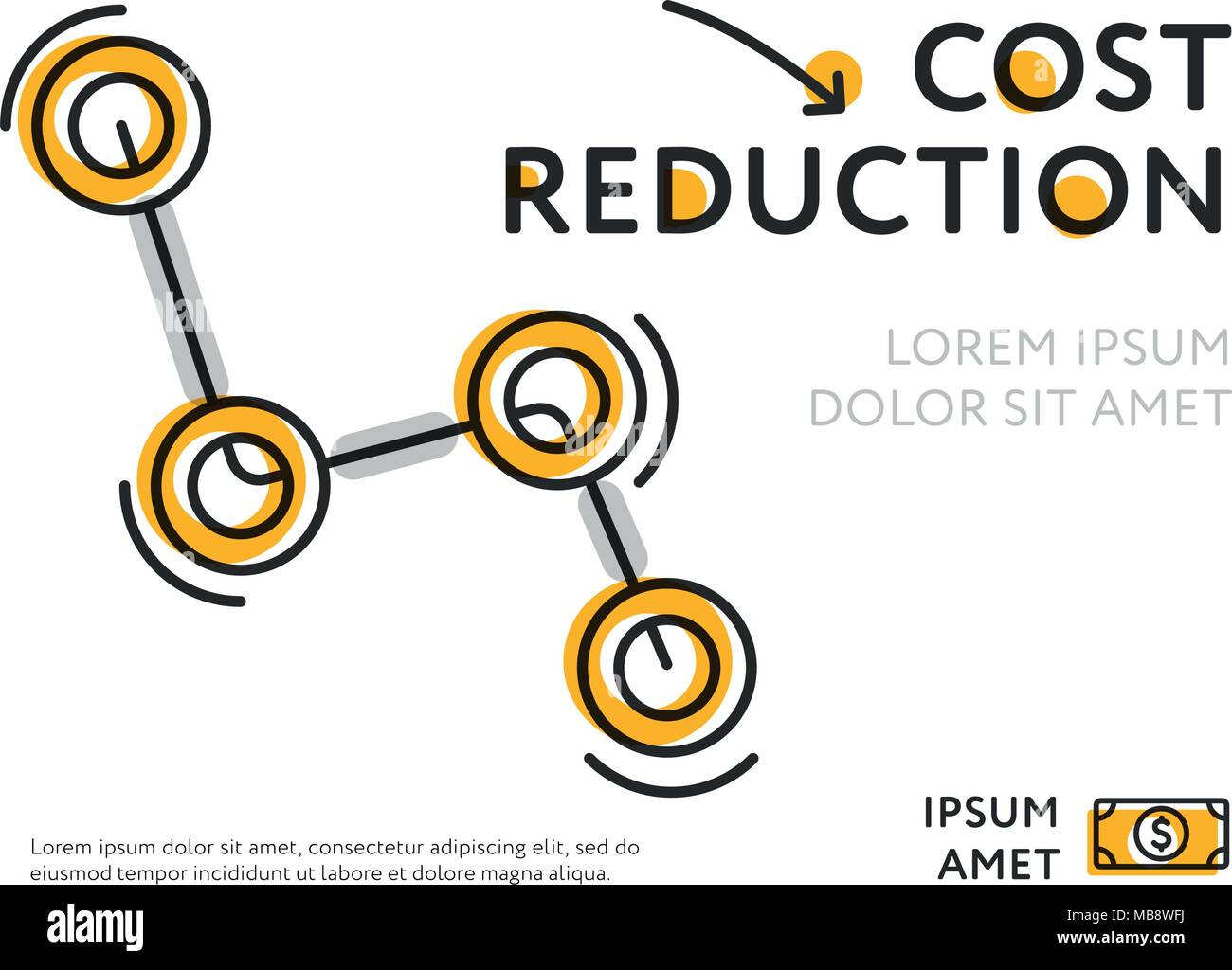 Design for value decline on white - Stock Image