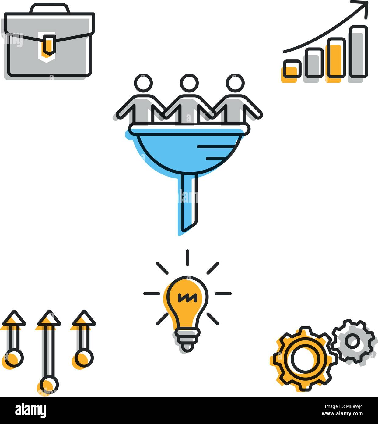 Business team icons in set on white - Stock Vector