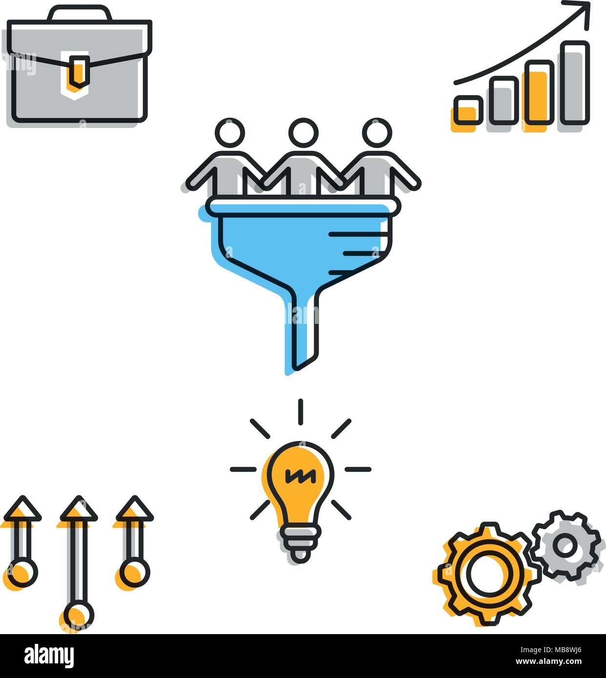Icons for business team in progress - Stock Vector