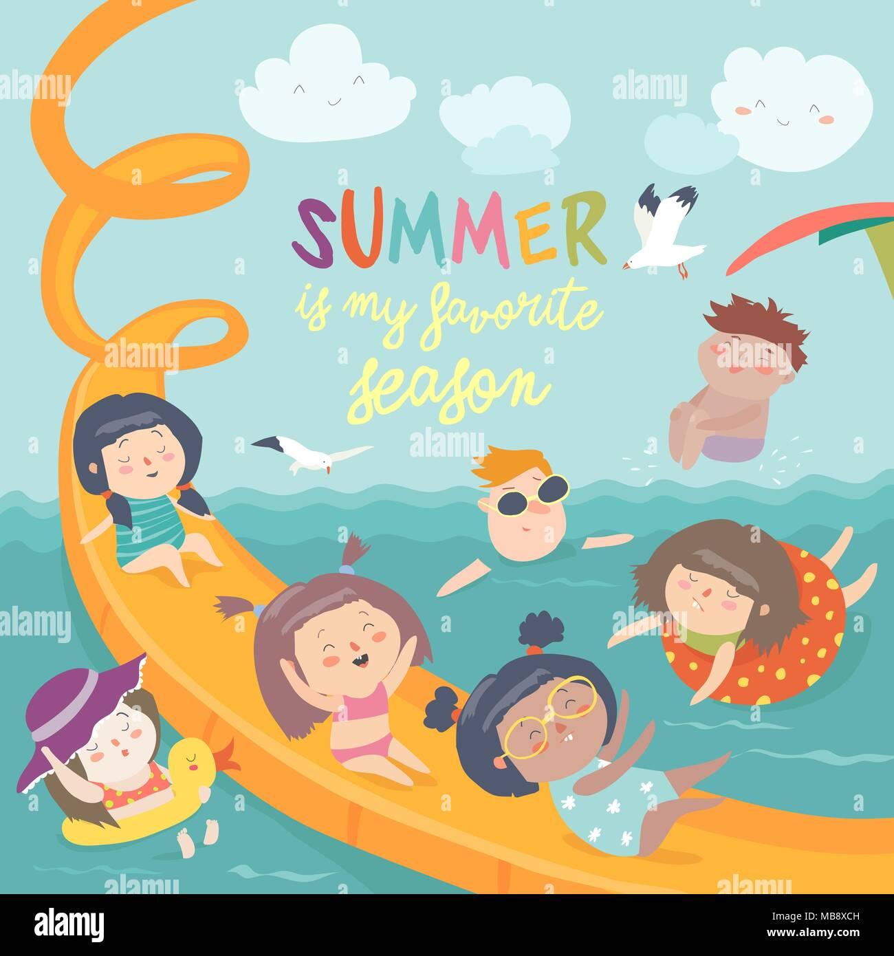 Kids Playing And Enjoying At Waterpark In Summer Vacation