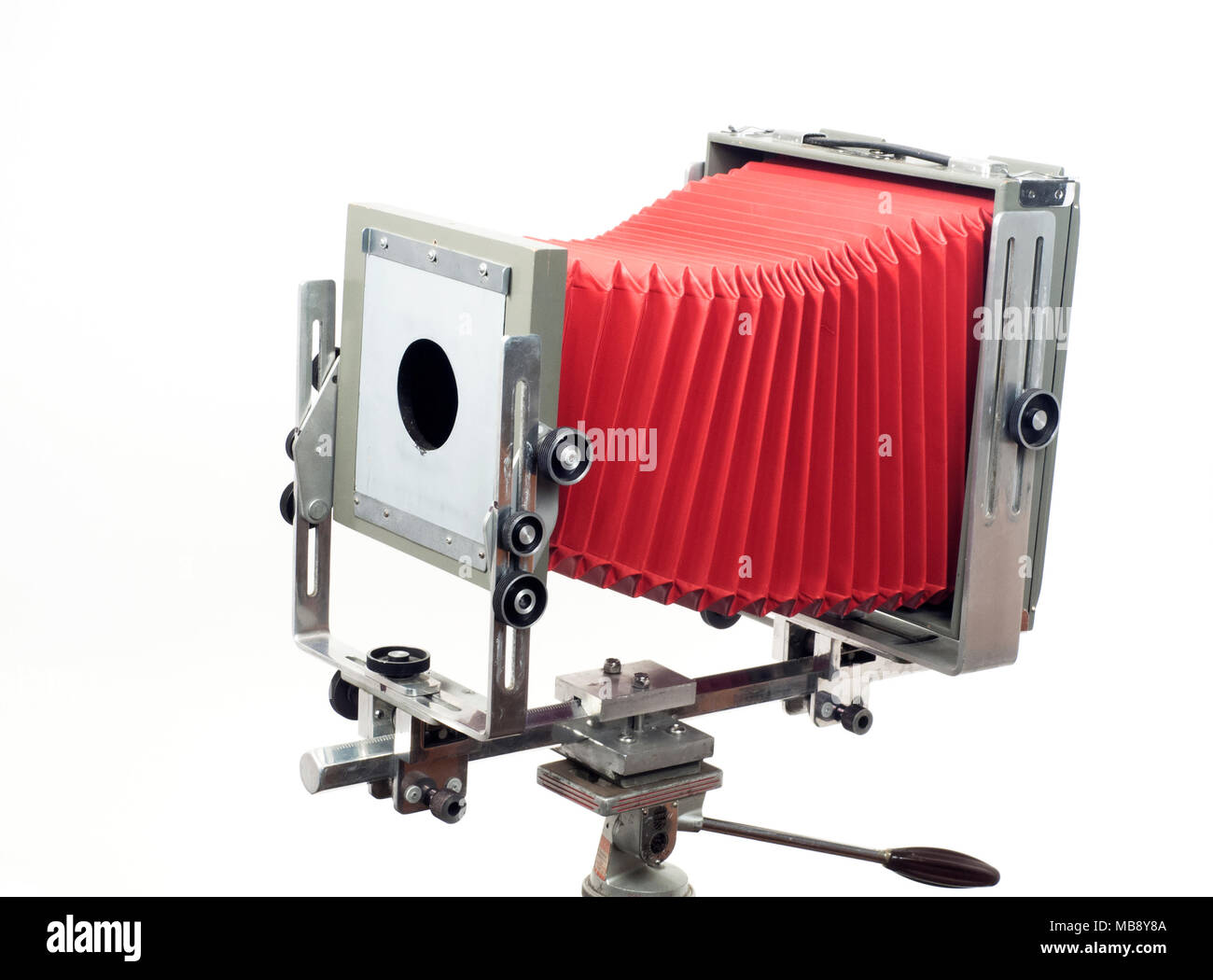 A Burke & James Grover 8x10 format monorail studio view camera with red bellows - Stock Image