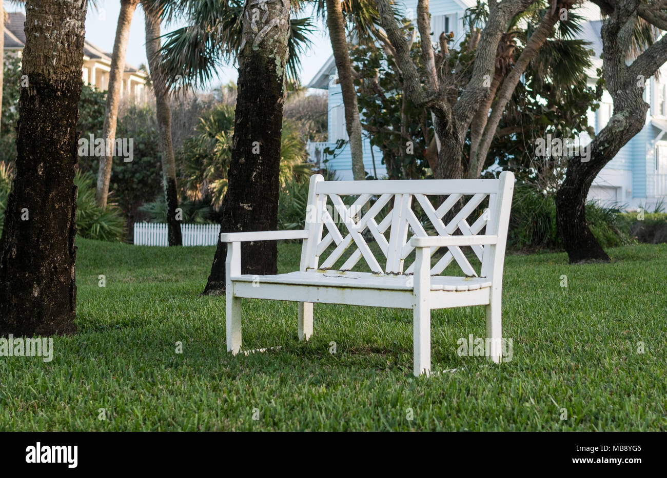 Excellent Isolated Wooden White Colored Bench Outside On Cut Grass Andrewgaddart Wooden Chair Designs For Living Room Andrewgaddartcom