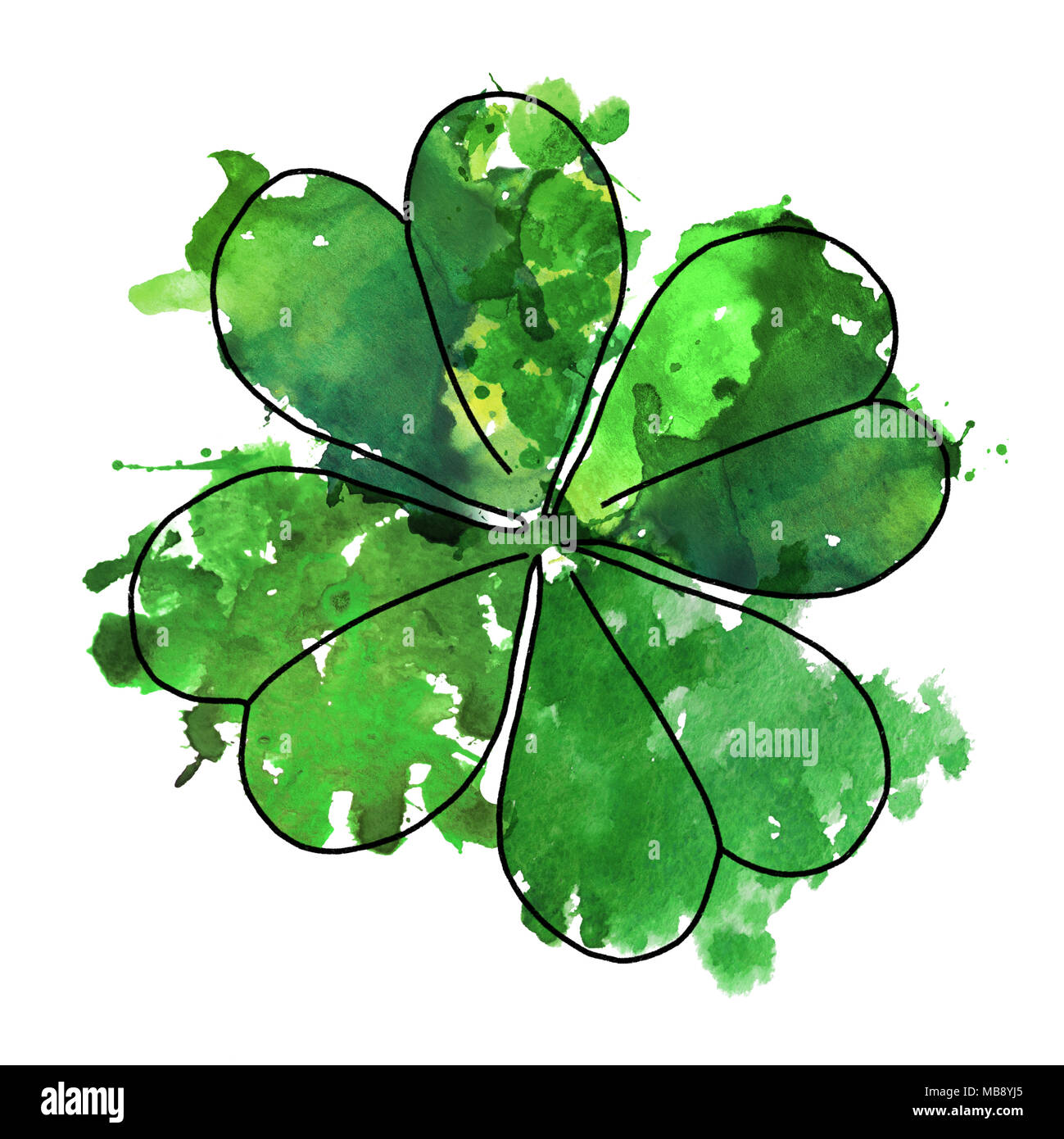 2d hand drawn illustration for St.Patrick's day. Green watercolor splash blot in shape of clover leaf. Isolated on white background. Stock Photo