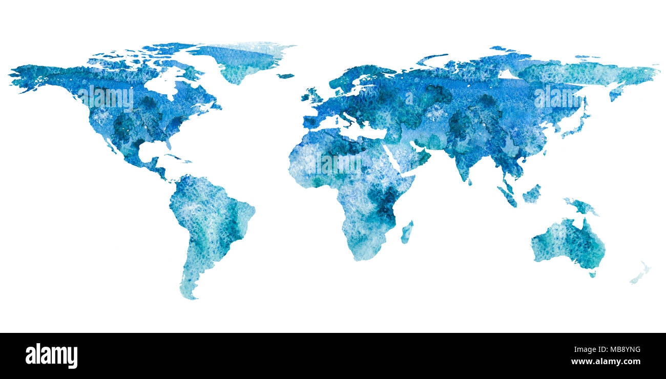 2d hand drawn illustration of world map. Turquoise blue watercolor