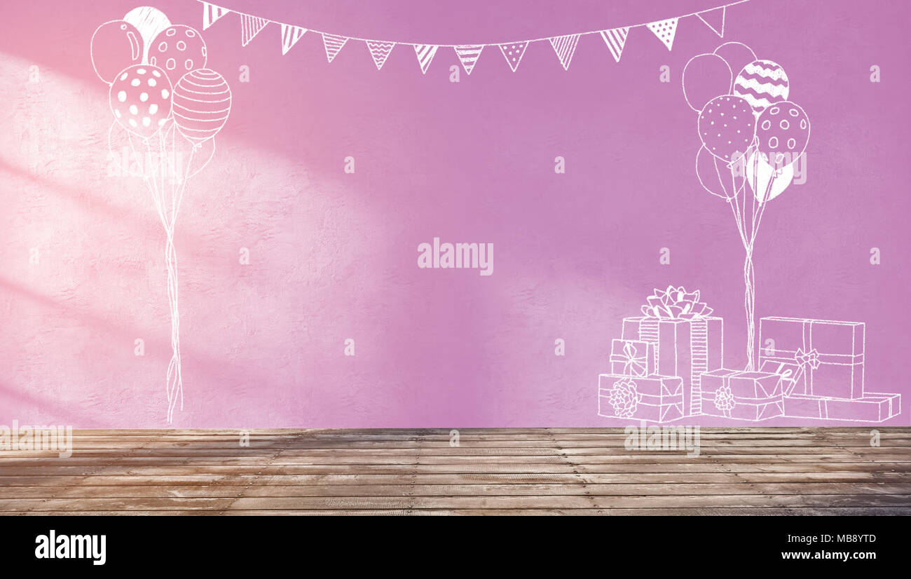 3d Rendering Illustration Of Sweet Room Preparing For Party Baby Showers Girl Birthday Nice Chalk Sketches Of Gifts Balloons And Flags Decoration Stock Photo Alamy