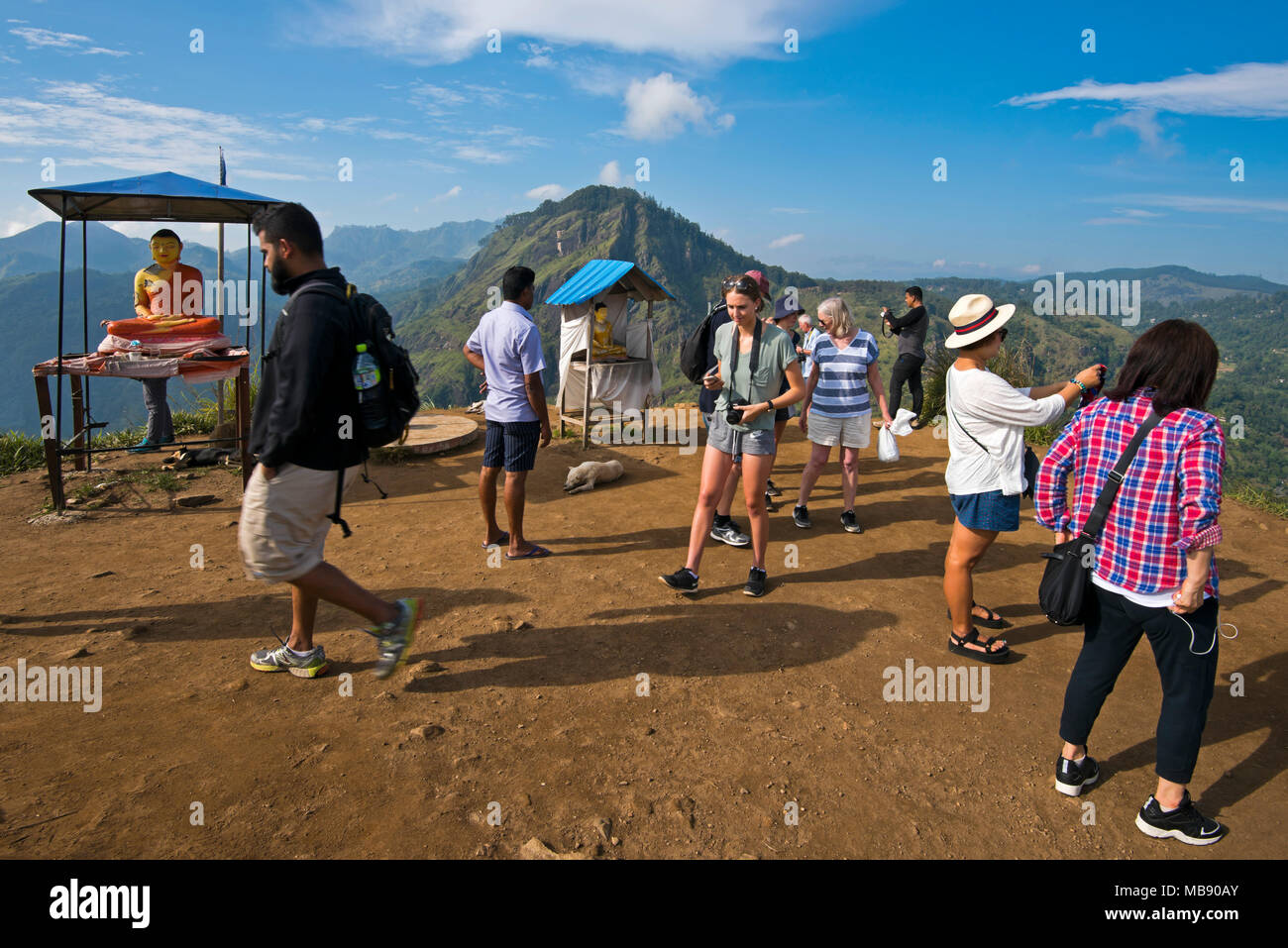 Horizontal view of the Buddha shrine at the top of little Adam's Peak in Ella, Sri Lanka. Stock Photo