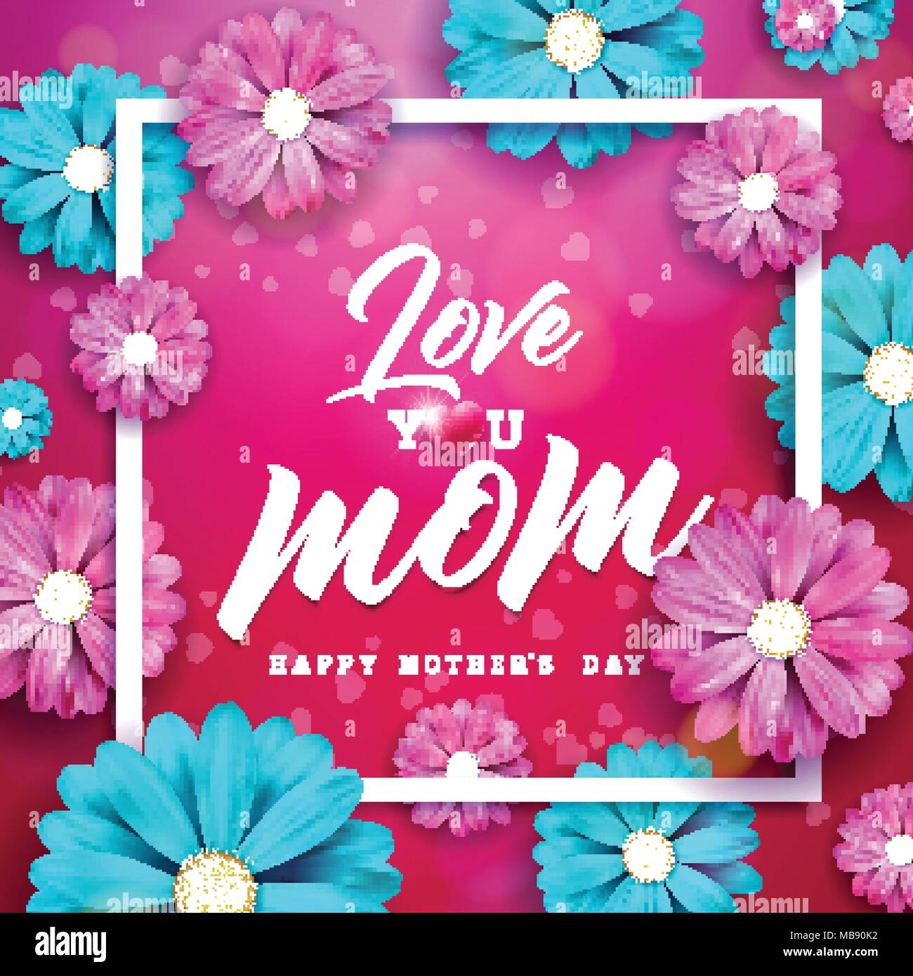 Happy mothers day greeting card design with flower and typographic happy mothers day greeting card design with flower and typographic elements on red background i love you mom vector celebration illustration template for m4hsunfo