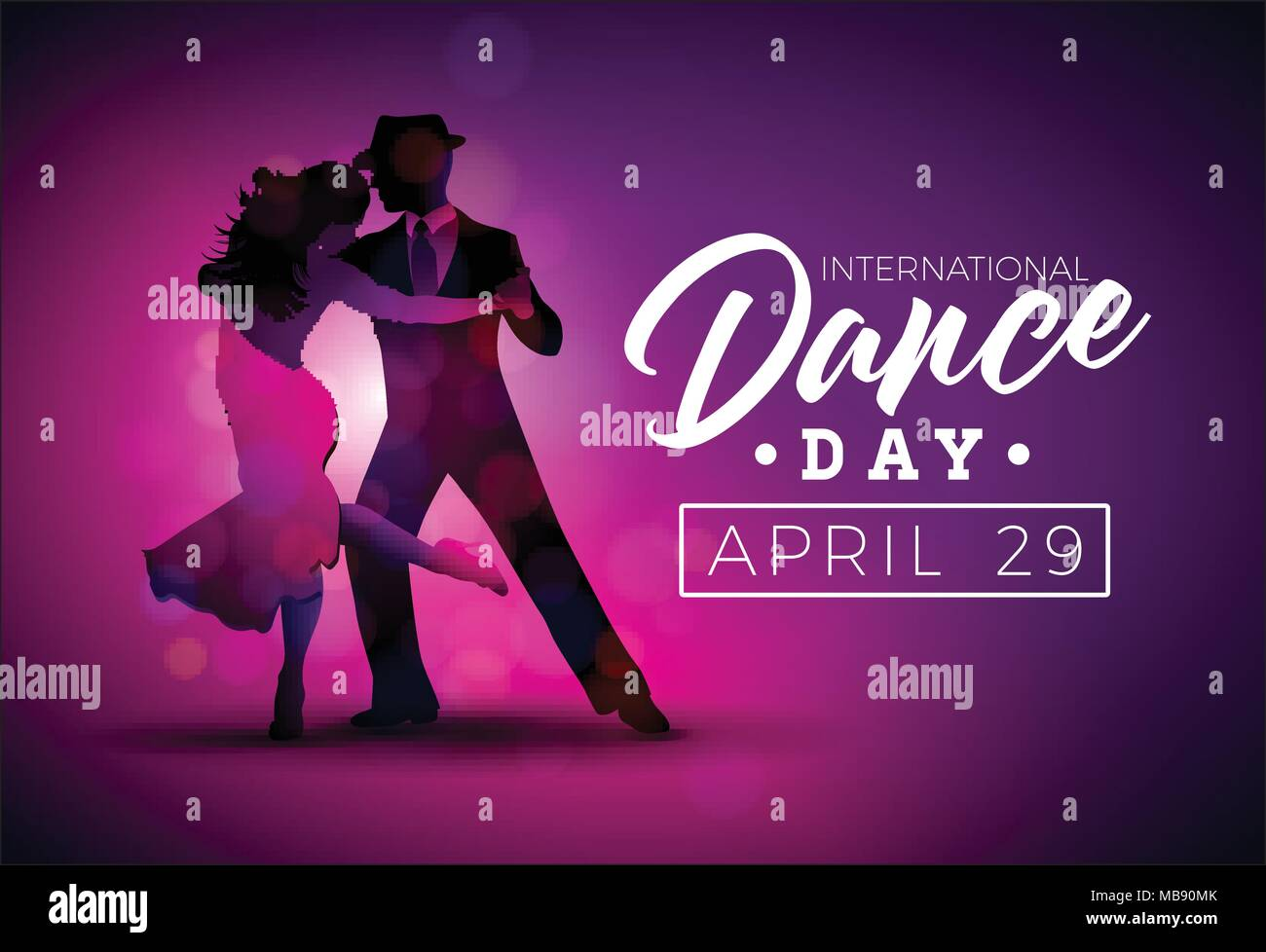 International Dance Day Vector Illustration With Tango Dancing Couple On Purple Background Design Template For Banner Flyer Invitation Brochure Poster Or Greeting Card Stock Vector Image Art Alamy