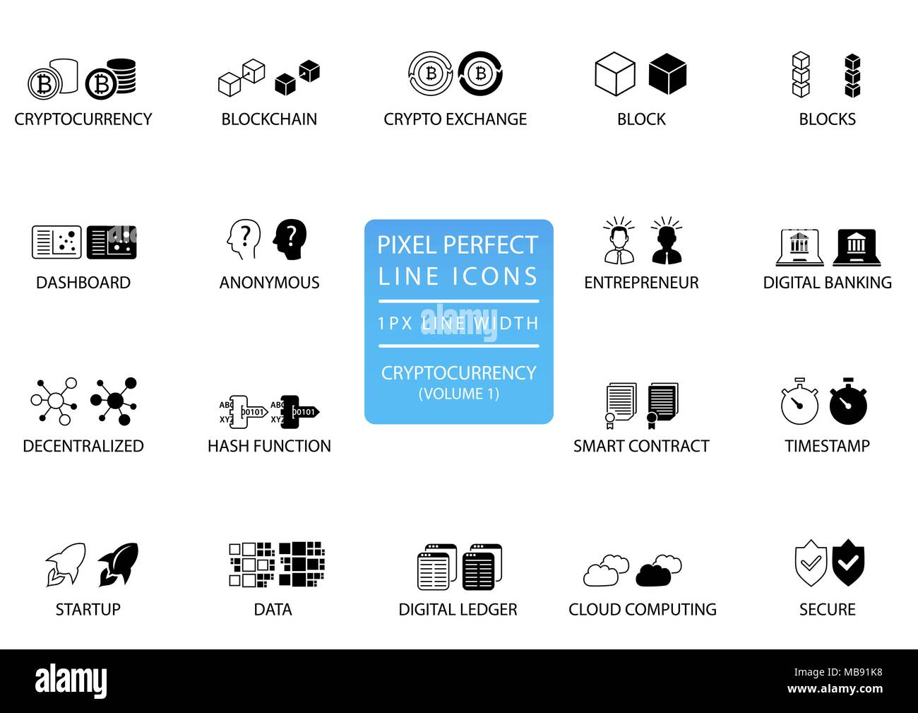 Cryptocurrency (bitcoin, ethereum) thin line vector icon set. Pixel perfect icons with 1 px line width for optimal app and web usage - Stock Image