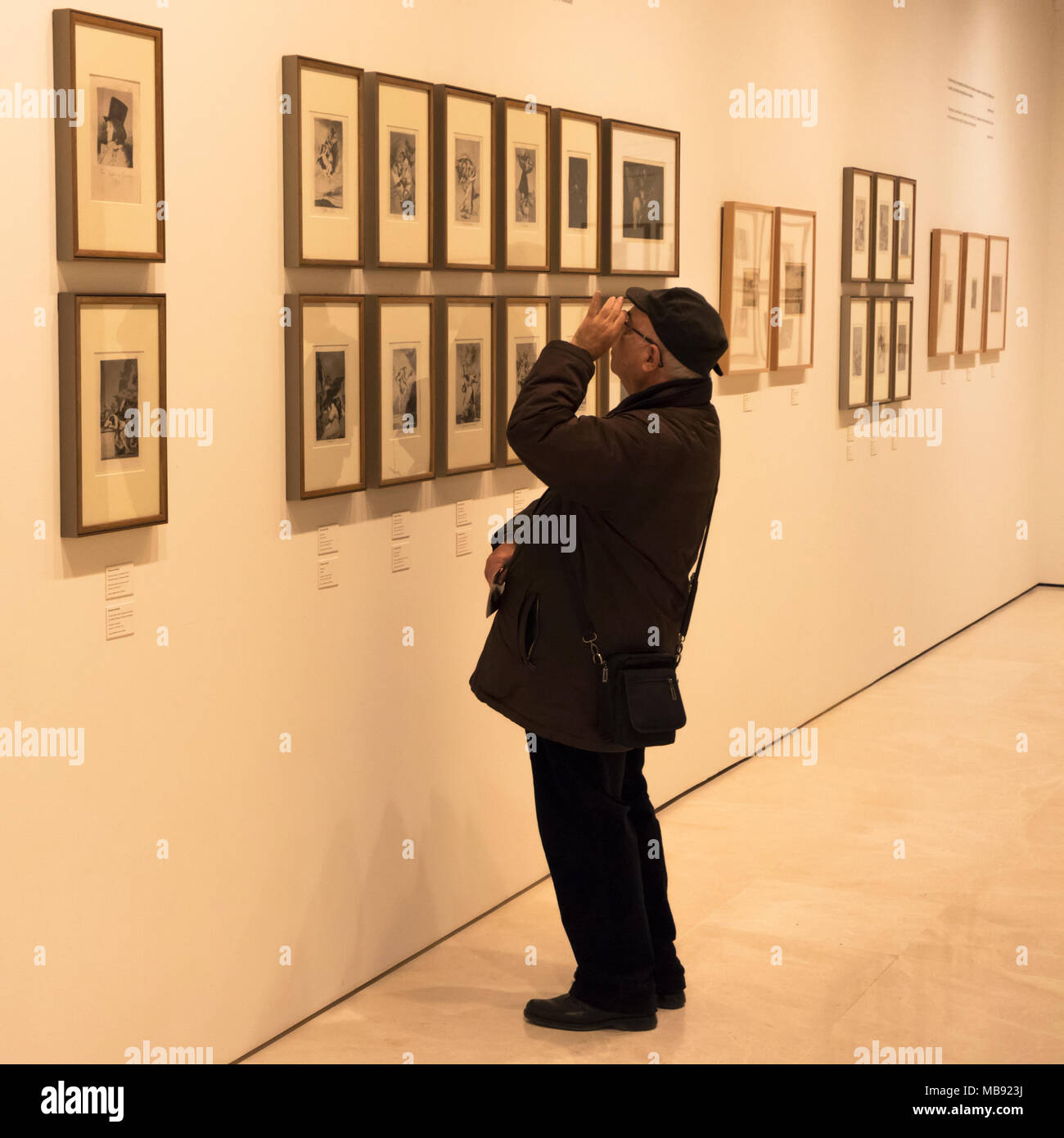Man studying Francisco Goya etchings in the Museo Carmen Thyssen, Malaga, Costa del Sol, Malaga Province, Andalusia, southern Spain. - Stock Image