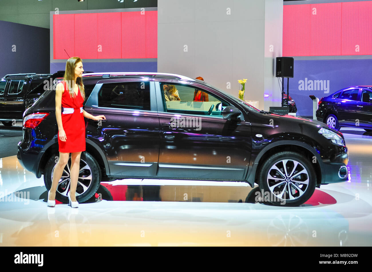 Russia, Moscow, Expocentre, 29 August - 9 September 2012: Nissan Qashqai new at  4th Moscow International Automobile Salon (MIAS 2012) - Stock Image