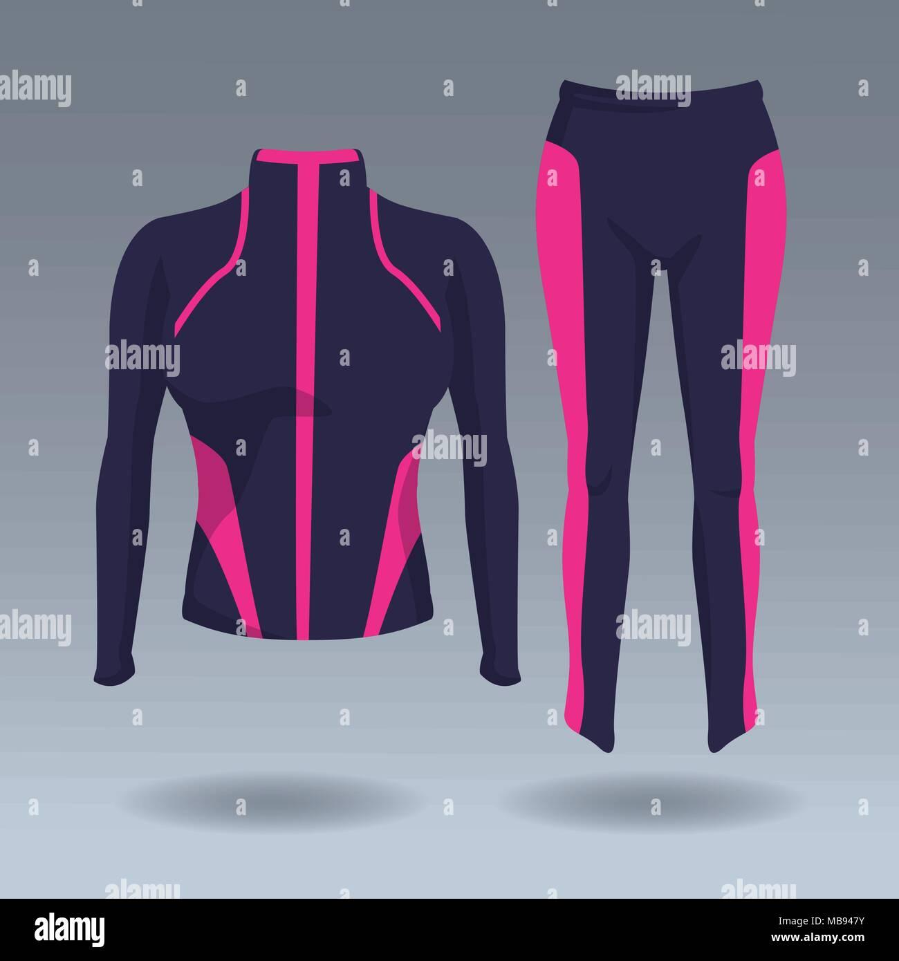 b2e617761 Fitness women jacket and pants - Stock Vector