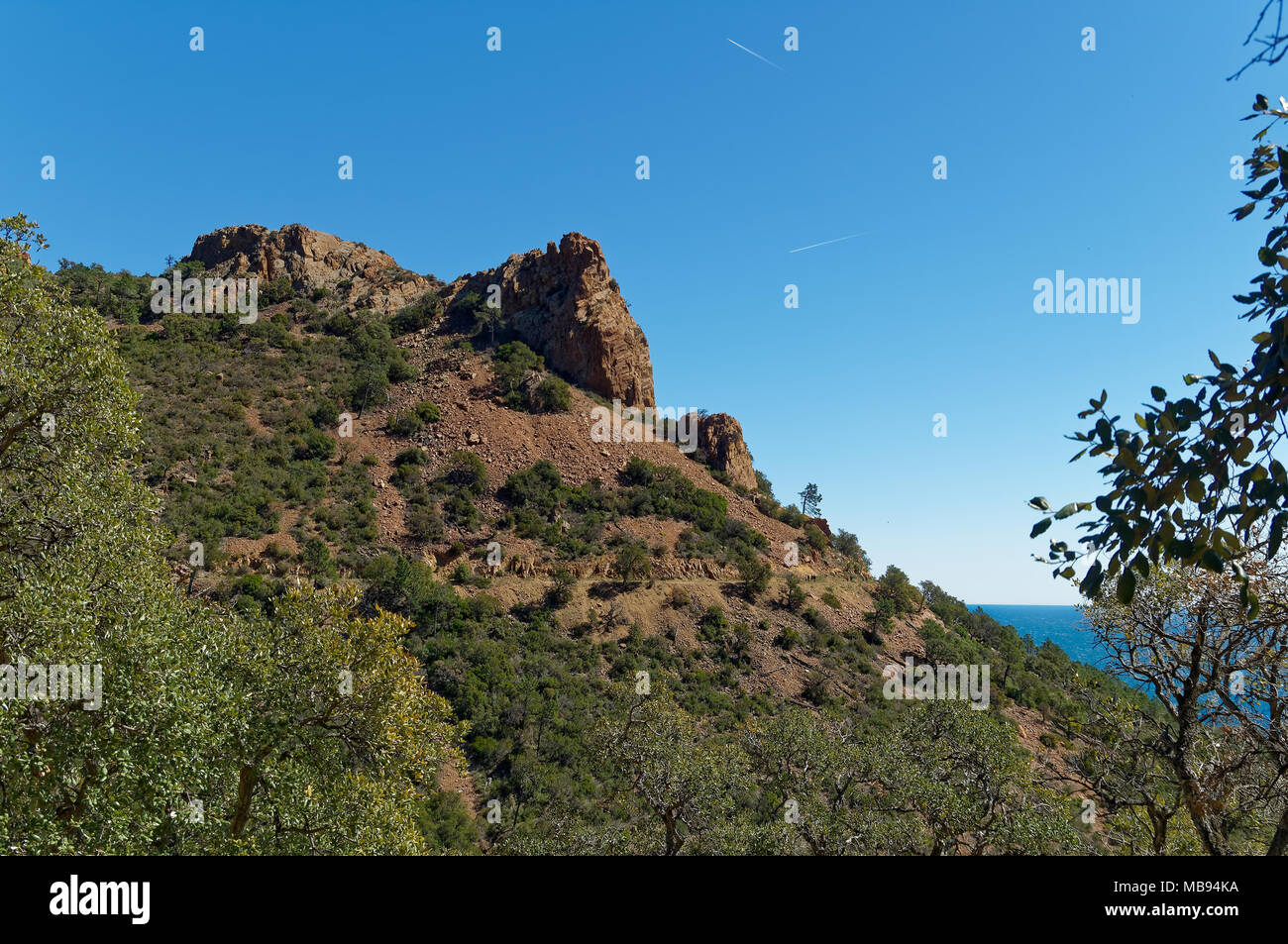 The Esterel Massif is a Mediterranean coastal mountain range in the departments of Var and Alpes-Maritimes in south-east France. Ideal for trekking. - Stock Image
