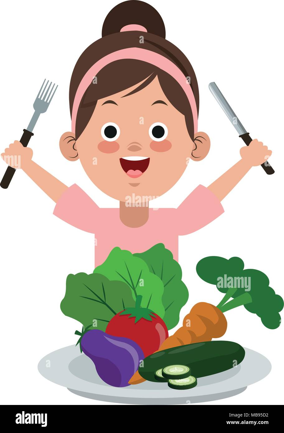 Cute Girl Eating Healthy Food Stock Vector Image Art Alamy