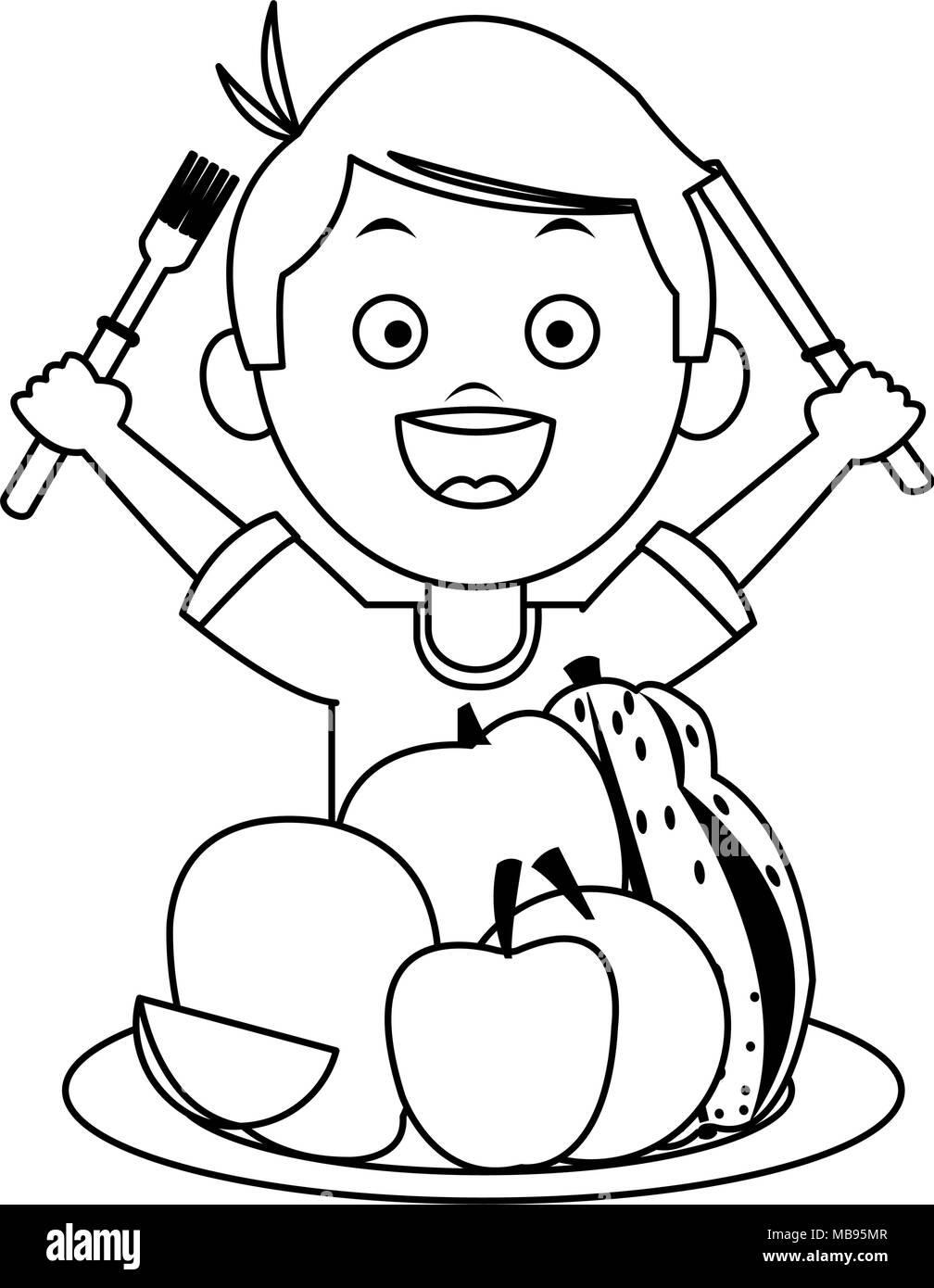 Cute boy eating healthy food Stock Vector Art ...