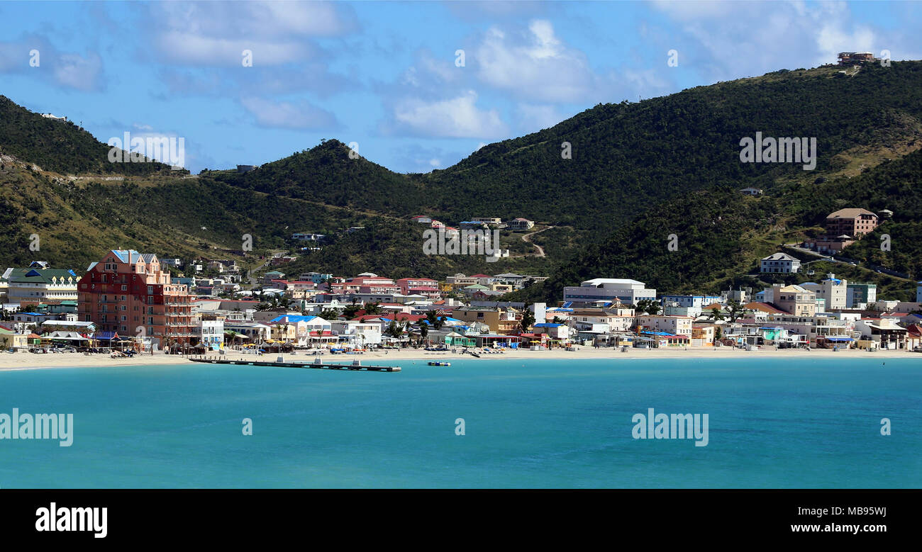 beach tourist town of Philipsburg as seen from Great Bay, St. Martin - Stock Image