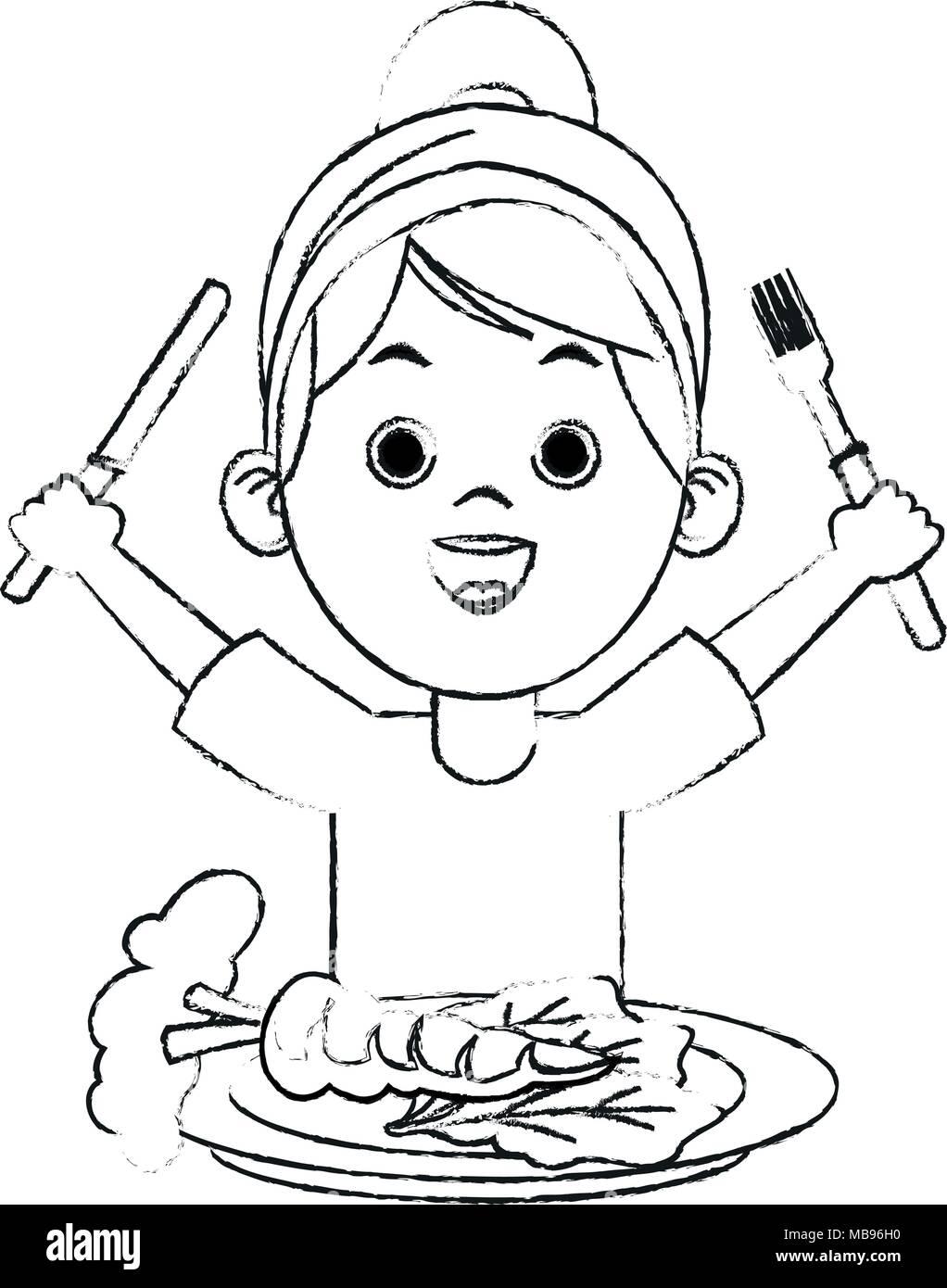 Cute girl eating healthy food sketch Stock Vector Art ...